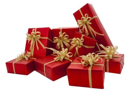 Red gift box over white background Banco de Imagens - 10758216