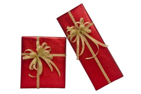 Red gift box over white background Banco de Imagens - 10758217