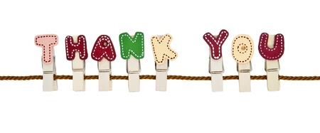 Thank You English alphabet wooden clip on the rope Stock Photo