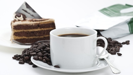 Coffee cup and Cake with Coffee Beans on white background Stock Photo - 10900802