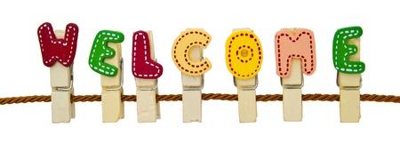bienvenida: Clip de la palabra de bienvenida en la cuerda Foto de archivo