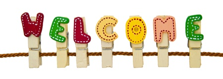 Welcome word clip on the rope Stock Photo - 10954587
