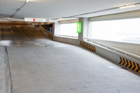 ramp lane to upper and lower floor in car parking lot