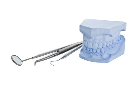 dental tools: Denture cast model and dental tools set