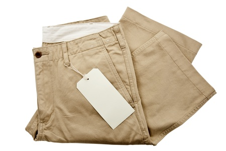 khaki pants: Trousers with tagging Stock Photo