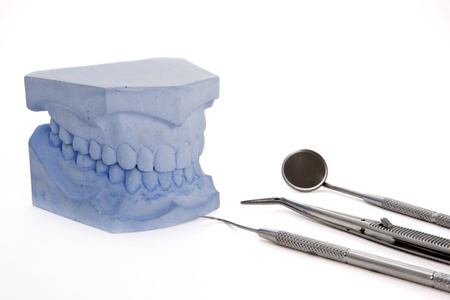 Denture molds with dental tools set Stock Photo - 11380336