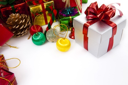 Colorful Christmas Decorations on a White Background Stock Photo - 11380348