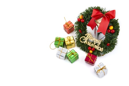 christmas wreath with gift boxs for decoration photo