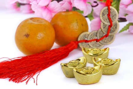 Gold ingots and copper coins with oranges and plum blossom Stock Photo - 11803552