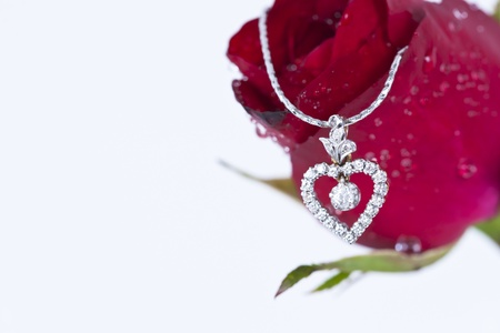 Heart pendant with diamond and red rose on white background  Stock Photo - 11944429