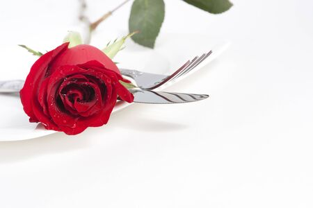 Valentine Series, Red rose and cutlery on white plate Stock Photo - 12123628