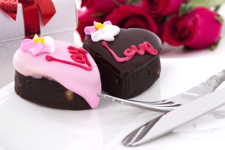 Valentine Series, Heart Shape Chocolate with rose on white background