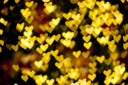 Blurred of heart shape christmas light, Can be used as background  Imagens