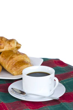 Breakfast with a cup of black coffee and croissants, Shallow DOF Stock Photo - 13177144