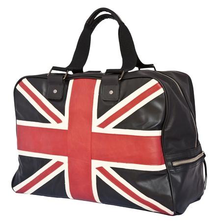 Union Jack Flag on black leather handbag, isolated background