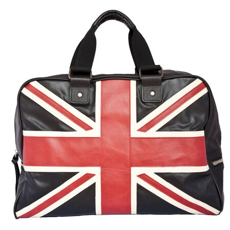 Union Jack Flag on black leather handbag, isolated background photo