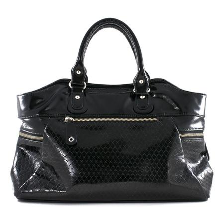 Black leather handbag on white background photo