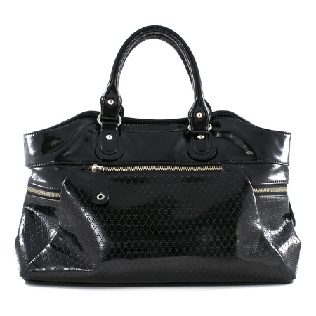 Black leather handbag on white background