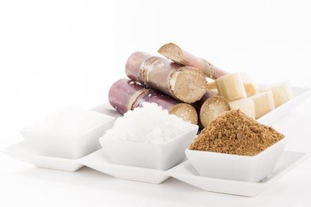 White, Rock, Brown Sugar in bowl and sugar cane
