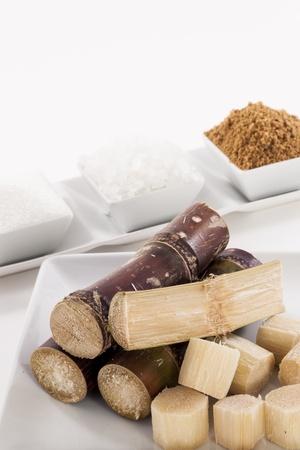 White, Rock, Brown Sugar in bowl and sugar cane photo