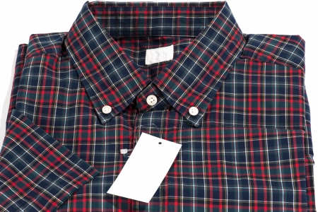 Red color shirt for men in checked pattern photo