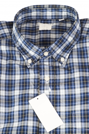 Blue color shirt for men in checked pattern photo