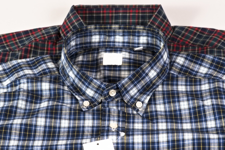 Red and Blue color shirt for men in checked pattern photo