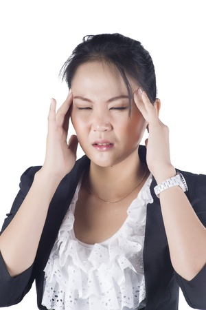 Stressed business woman with a headache isolate on white background, Model is Asian woman. Stock Photo
