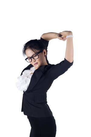 Tired business woman stretching, isolated on whtie background, Model is Asian woman. photo