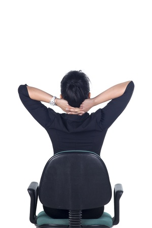 stretches: Rear View, Thinking business woman standing isolated on white background in full body. Model is Asian woman.