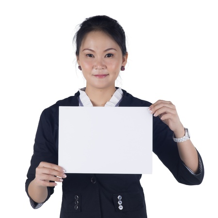 Business woman in black suit holding a blank sign board, Isolated on white background. Model is Asian woman. photo