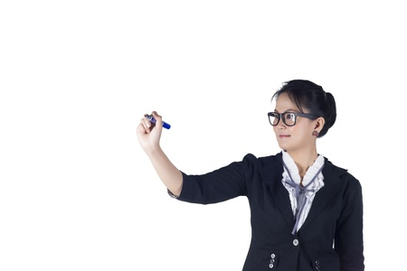 glassboard: Business woman with pen writing or drawing on the screen. Isolated on white background. Model is Asian woman.