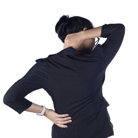 Business woman with back pain isolated white background, Model is Asian woman.  Archivio Fotografico