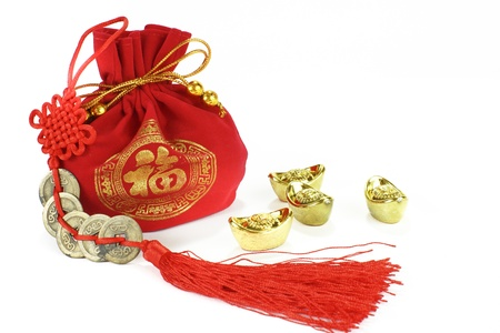 Chinese new year ornament on white background