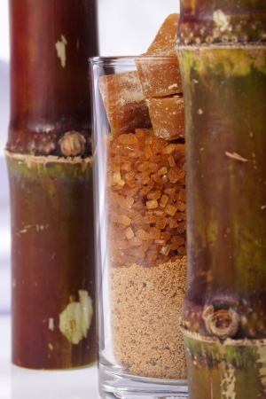 Various kinds of layer sugar in glass. photo