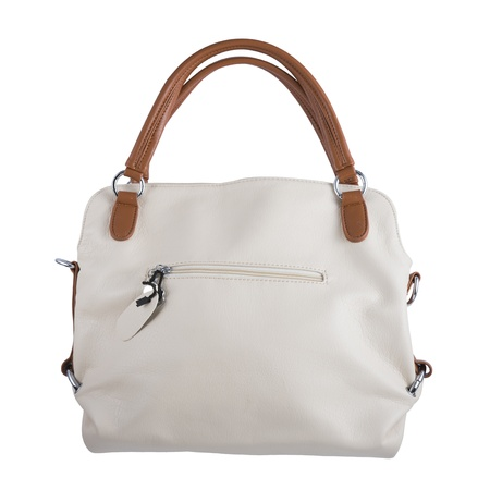 Womans handbag Beige color, isolated over white photo