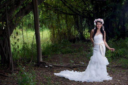 asian bride: Beautiful Asian lady in white bride dress, posing in the forest, greenery in the background, model is Thai Ethnicity. Stock Photo