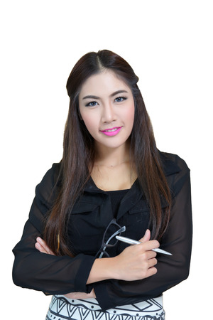 Portrait of young business woman with arms crossed. photo