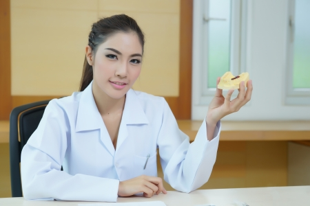 Young beautiful woman dentist holding denture cast model. photo