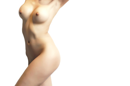 femmes nues sexy: Belles femmes nues sexy debout, fond blanc isol�