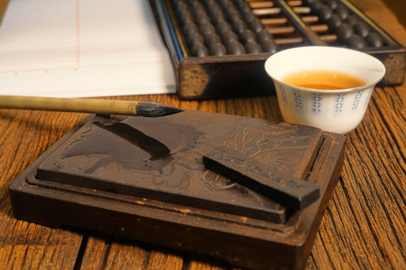 Close up of chinese old shop, focus on the calligraphy.  Warm tone color. photo