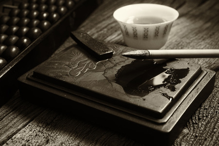 Close up of chinese old shop, focus on the calligraphy.  Warm tone Black and white