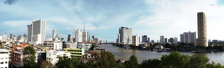 chao phraya river: Panorama view of Chao Phraya river, Bangkok, Thailand.