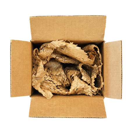 unclosed: Top view of a filled cardboard box isolated on white background Stock Photo