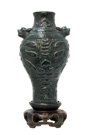 antique vase: Chinese antique green vase, Museum quality on wooden stand, isolate on white background
