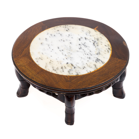 hand carved: Chinese style short antique round table marble top and 5 legs hand carved from wood, isolated on white