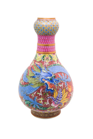 antique vase: Chinese antique Dargon vase, Museum quality, isolate on white background