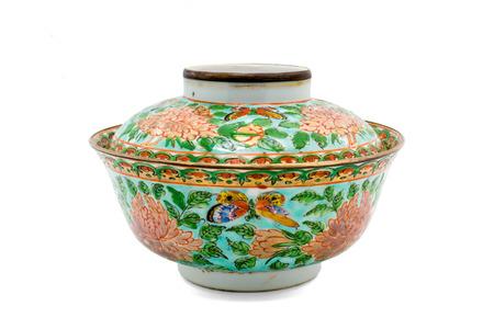Antique Chinese Ceramic Bowl Isolate On White Background Stock Photo