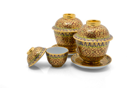 antique asian: Antique Chinese tea bowl set,  isolated on white background Stock Photo