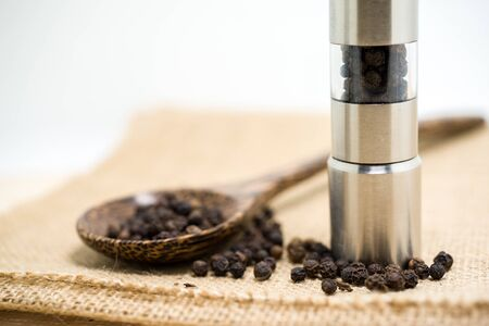 molinillo: Molinillo de pimienta y pimienta negro. Foto de archivo
